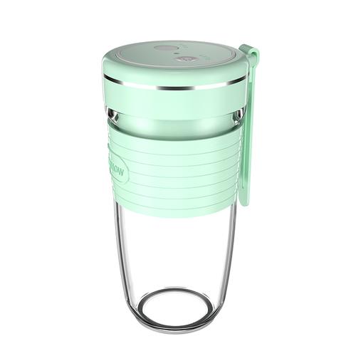 HANSHOW USB充電可攜式迷你電動榨汁杯 (粉綠)