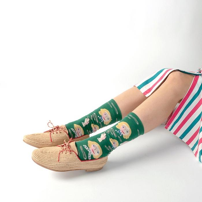 (複製)Bonne Maison|金色女郎 純棉織襪