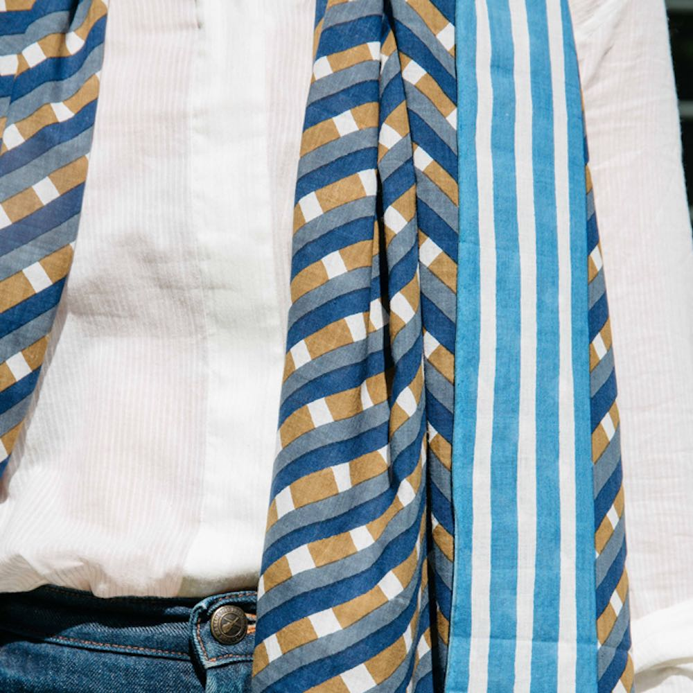 MOISMONT|N°338-INK BLUE 純棉圍巾