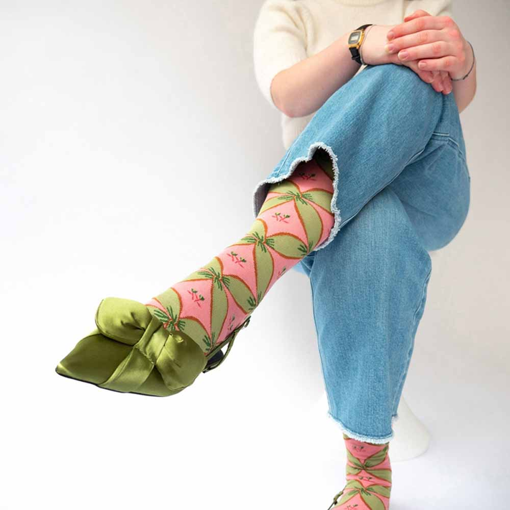 Bonne Maison|綠桃緞帶 純棉織襪