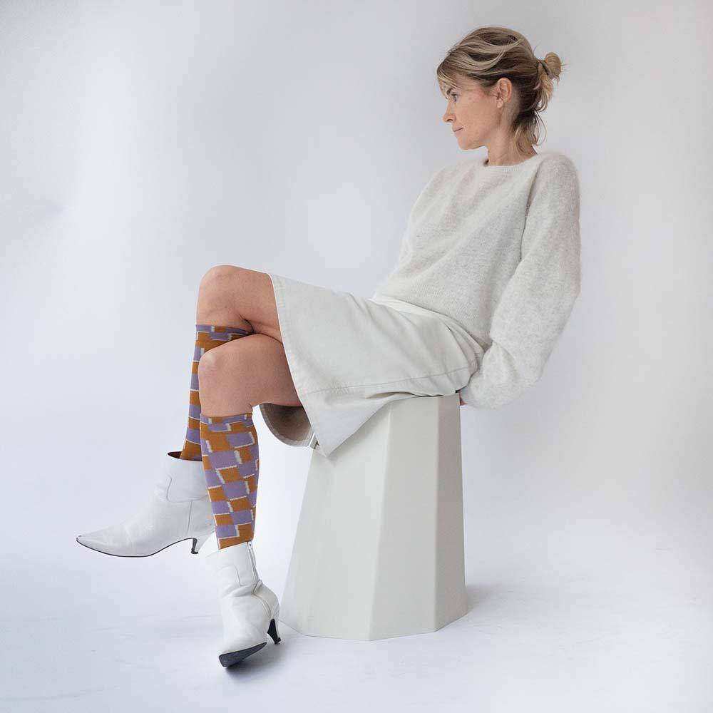 Bonne Maison|棋格磚  純棉長襪