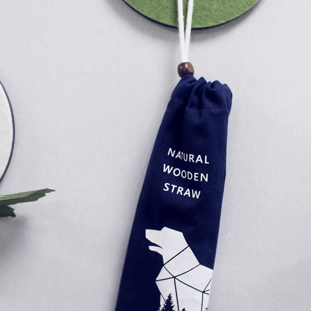 DUBBE | 天然棉質束口袋 木珠款 Natural Cotton Bag (適用於木吸管、吸管刷、環保餐具)