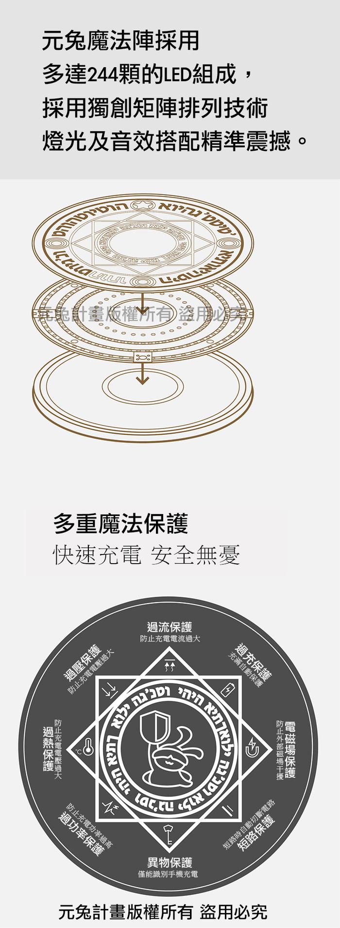 元兔計畫|魔法陣無線充電器 10W旗艦版 (棕)