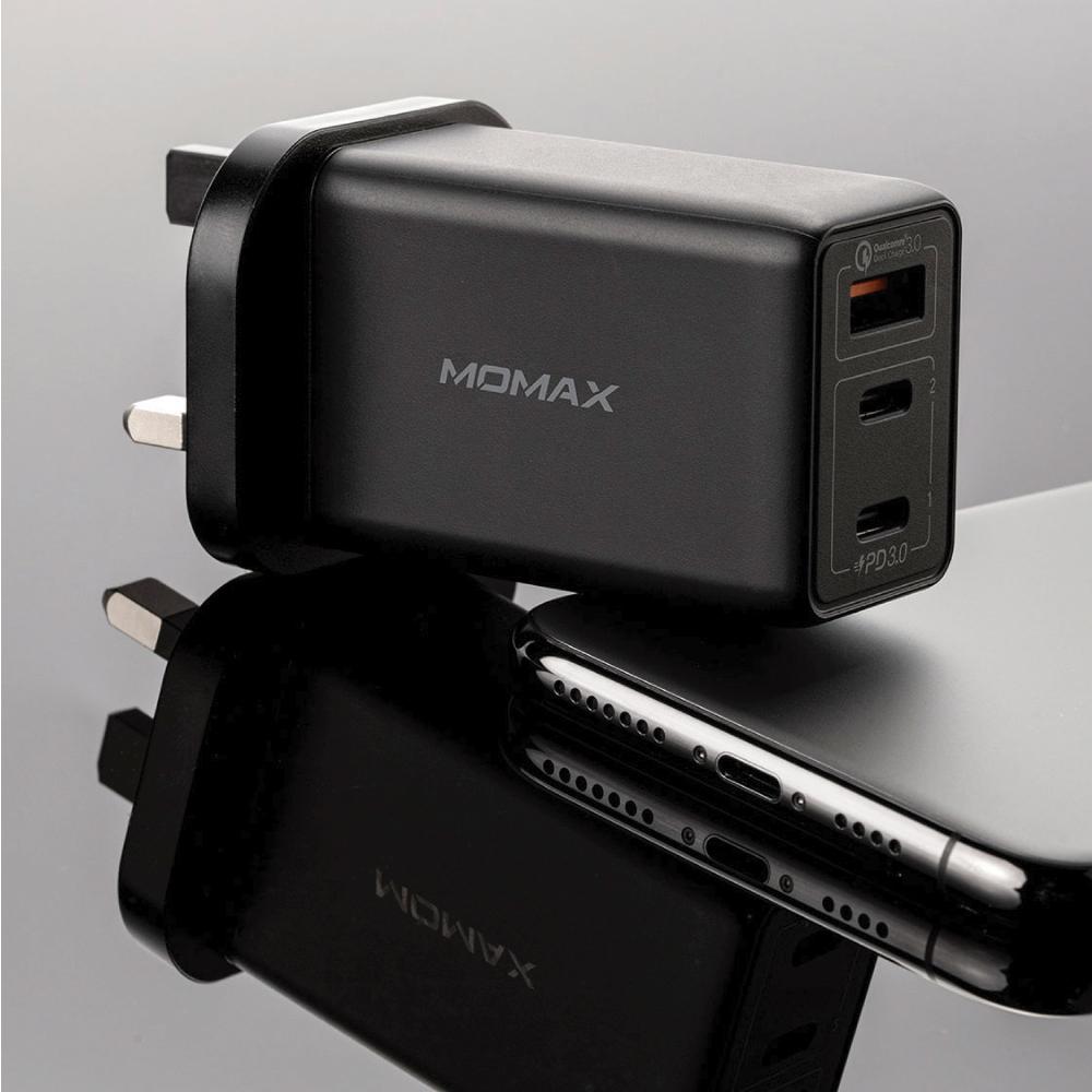MOMAX|One Plug 65W 3-Port GaN 氮化鎵智能充電器(UM20)-黑