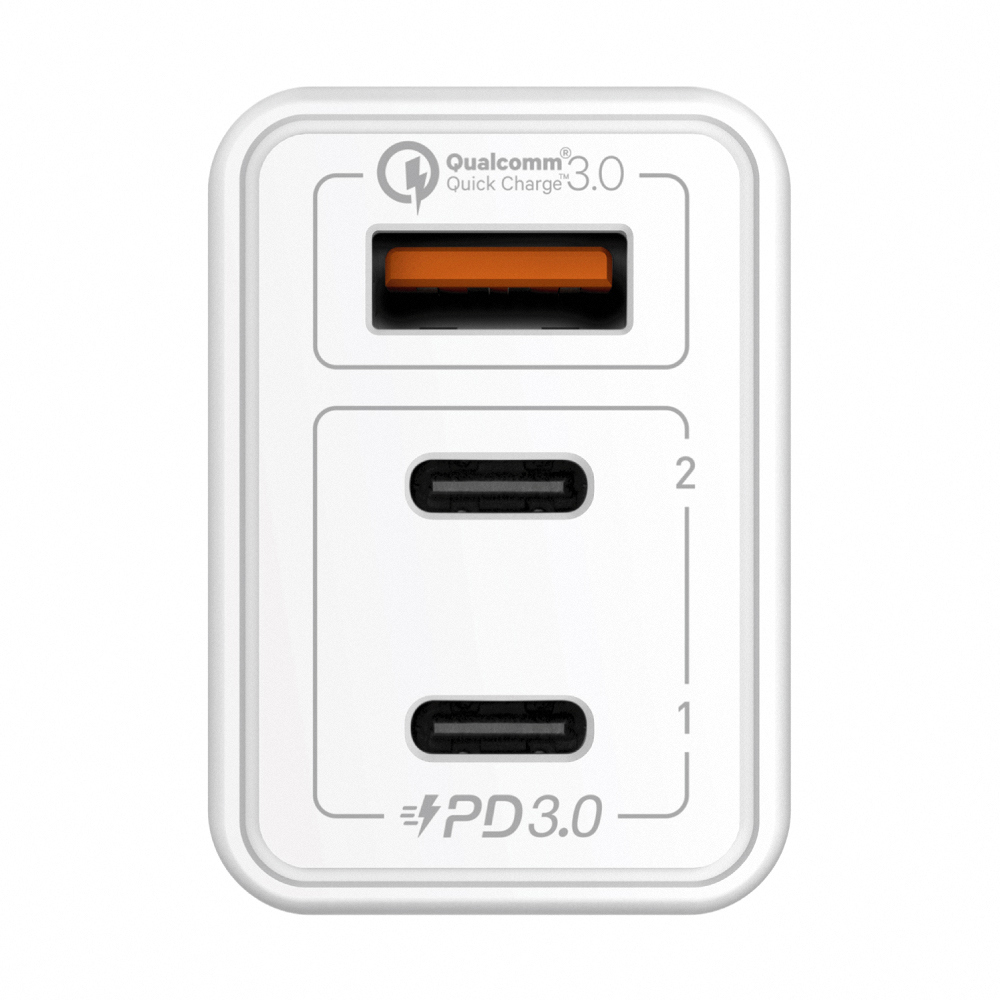 MOMAX|One Plug 65W 3-Port GaN 氮化鎵智能充電器(UM20)-白