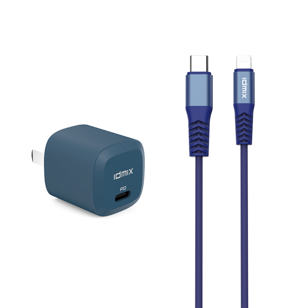 idmix PD20W 快充組合(C-MFI充電傳輸線+PD20W充電器) -藍