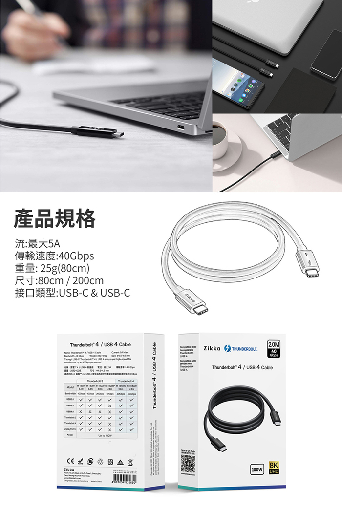 Zikko|Type C to C 雷電4 高速傳輸線-80cm(最新Thunderbolt 4技術)
