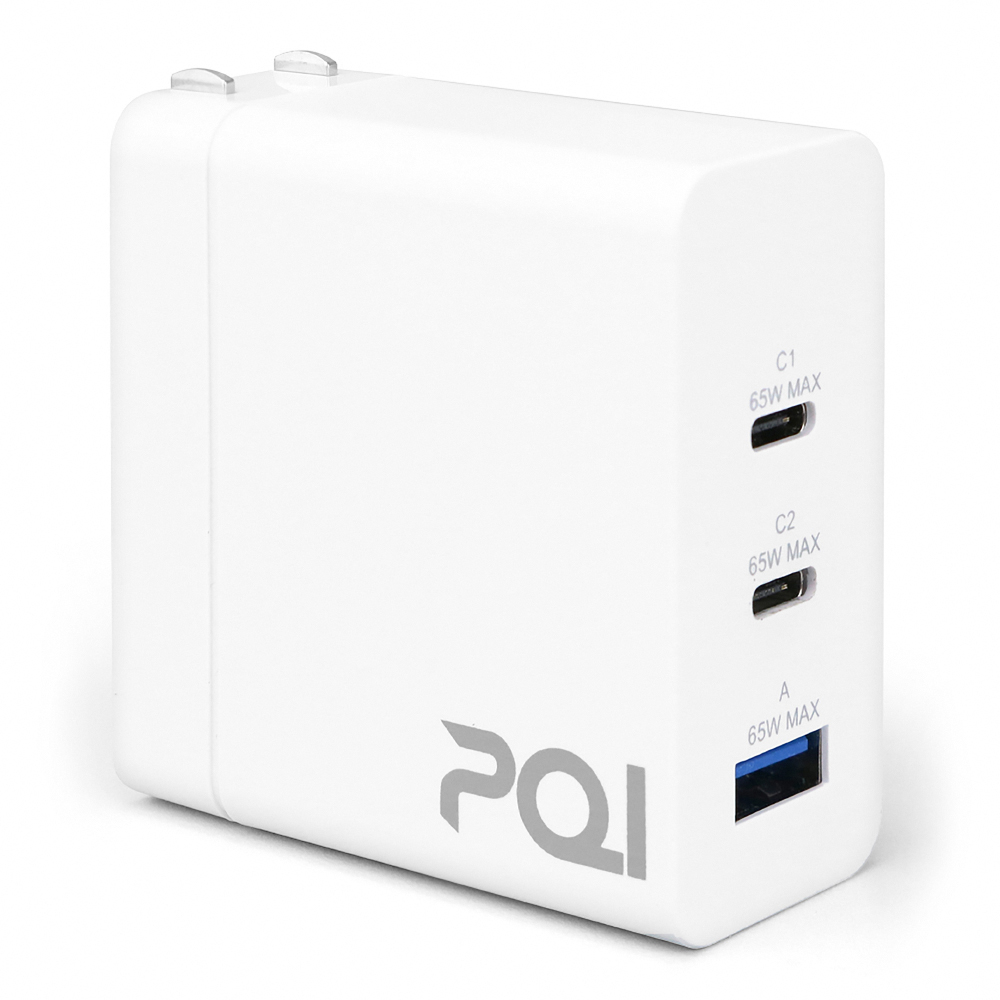 PQI|PDC65W GaN 雙USB-C 電源供應器(氮化鎵充電器/支援PD快充)