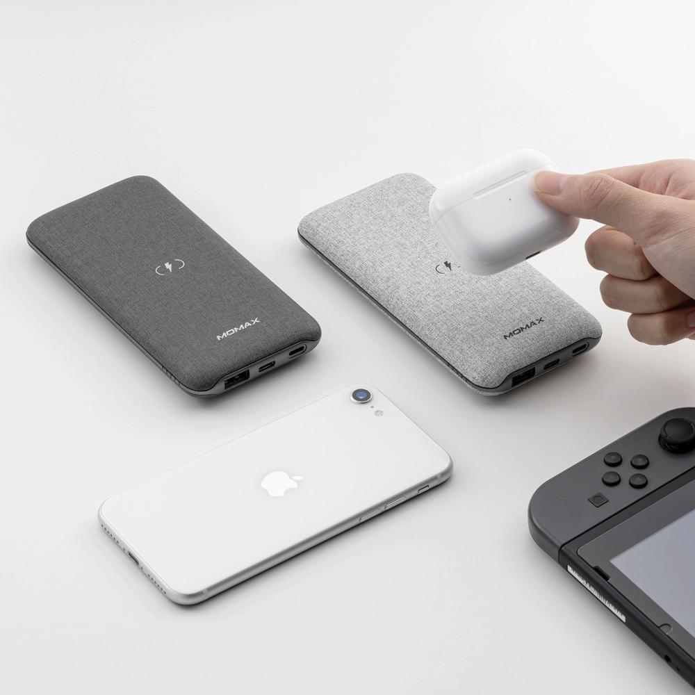 MOMAX Q. Power Touch 10000mAh無線充電行動電源(IP91MFI)-淺灰