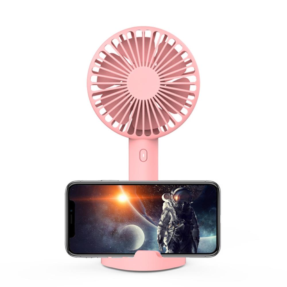 idmix|多功能MINI手持/手機支架USB小風扇(F1)-粉