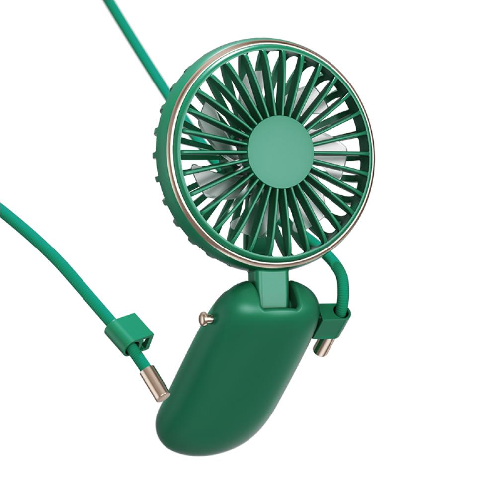 Benks 折疊掛頸迷你涼夏USB小風扇(F16)-綠