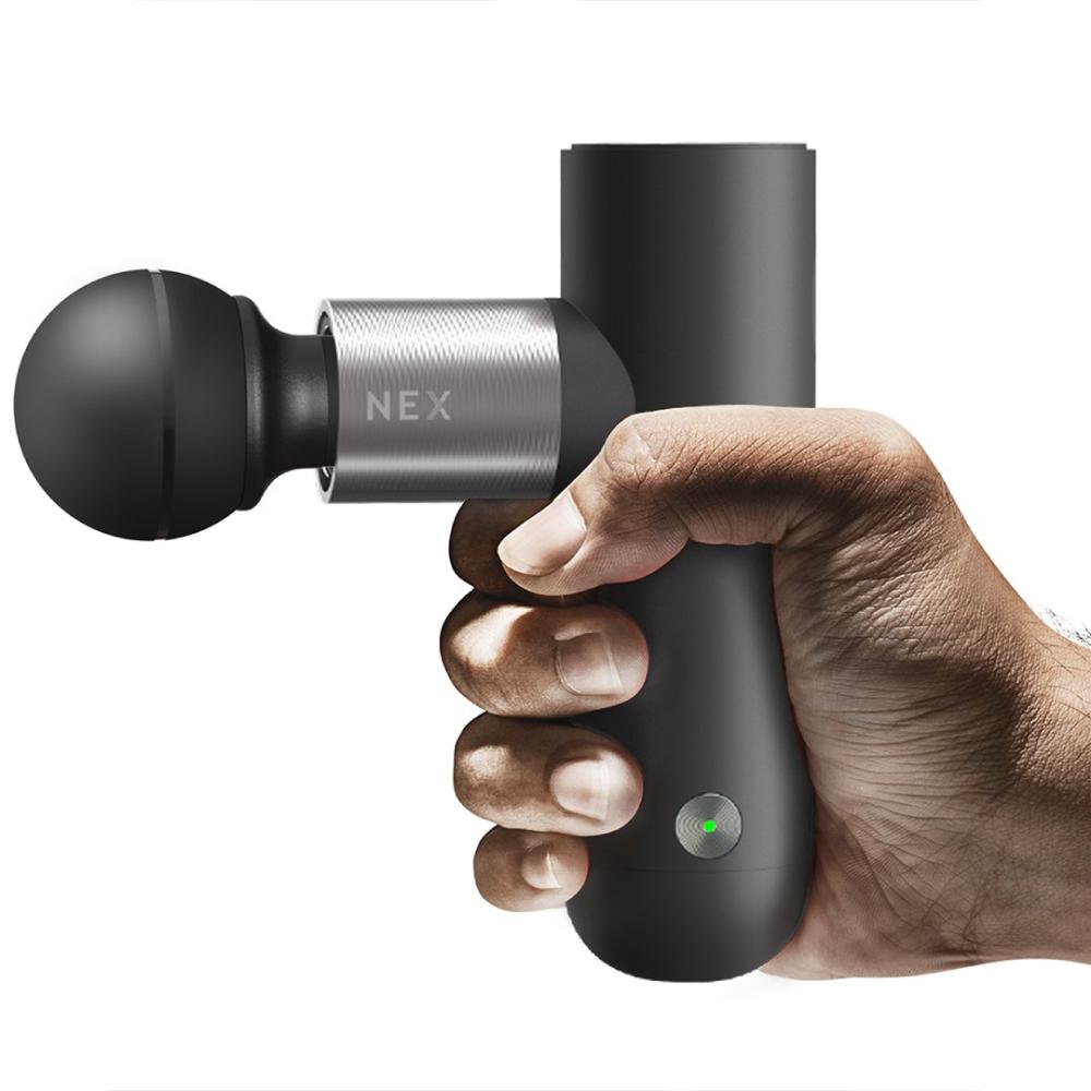 OYeet 便攜型高轉速USB充電按摩槍NEX-灰色(附充電底座/四種接頭/收納袋)