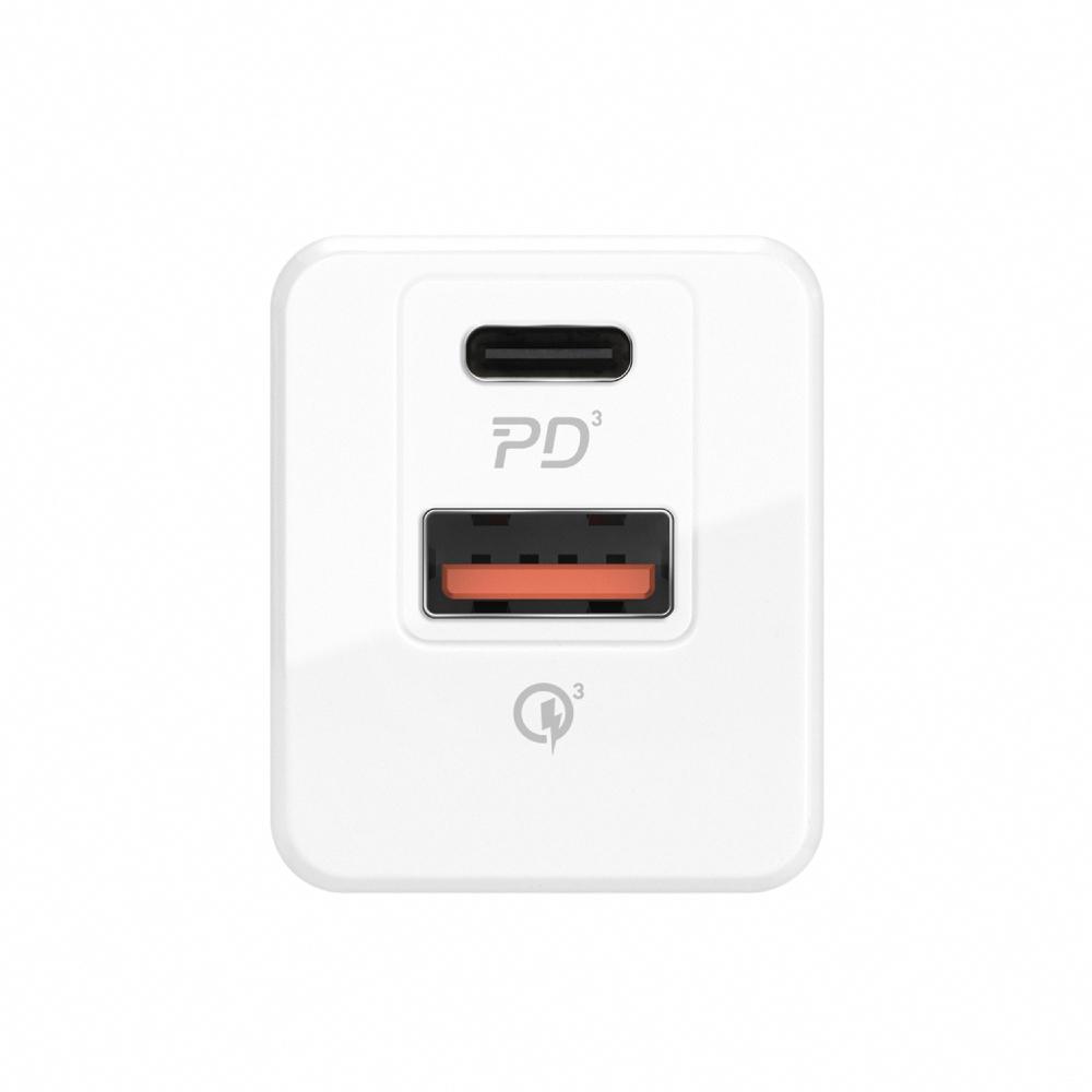 MOMAX ONEPlug USB-C雙孔充電器20W PD快充(UM16)-白