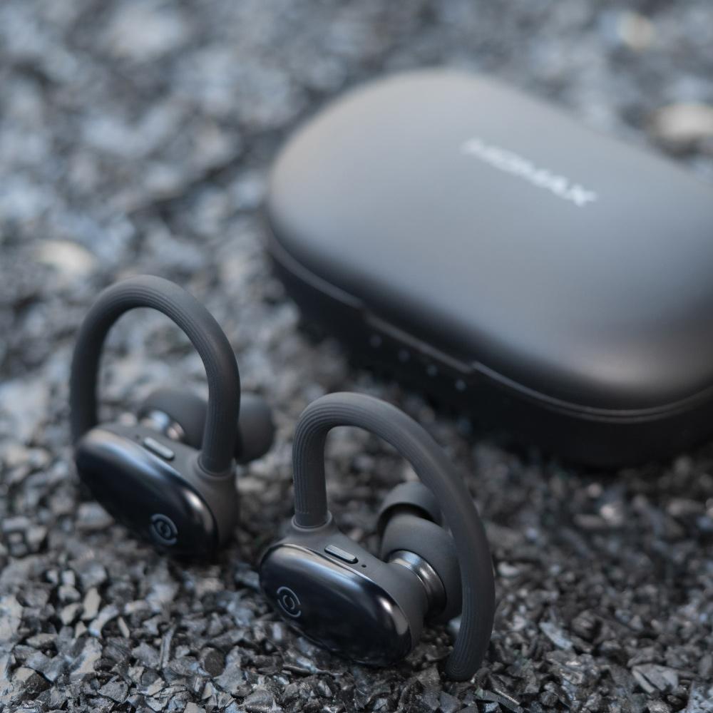 MOMAX JOYFIT 掛耳+入耳式真無線運動藍牙耳機(BT3)-黑