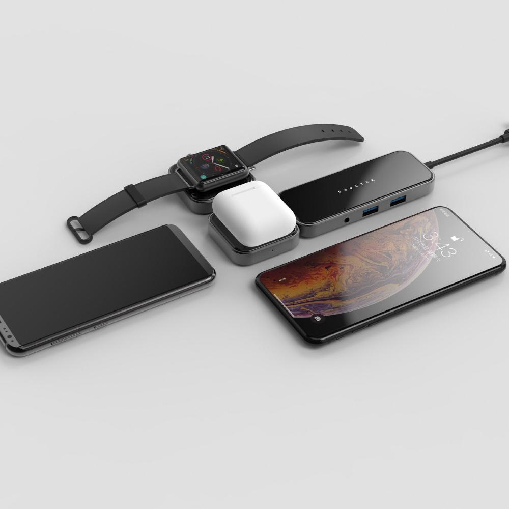 Feeltek|玻璃 8合1 無線充電組合式USB-C Hub多功能隨身集線器(支援AirPods與Apple Watch無線充電)