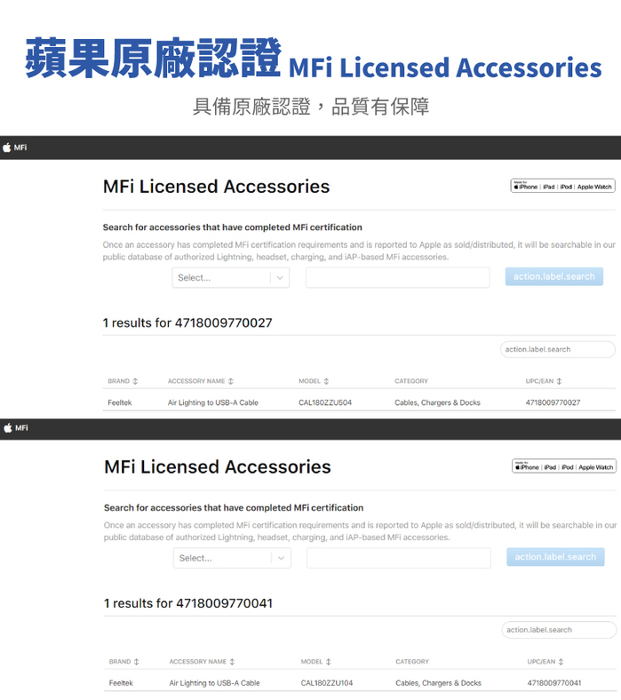Feeltek Air Lightning 180cm MFI 認證強韌編織傳輸線-黑