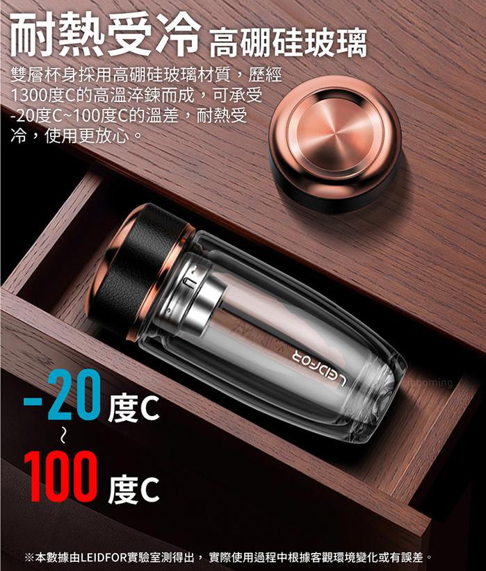 LEIDFOR|雙層耐熱玻璃杯370ml(G21)-黑