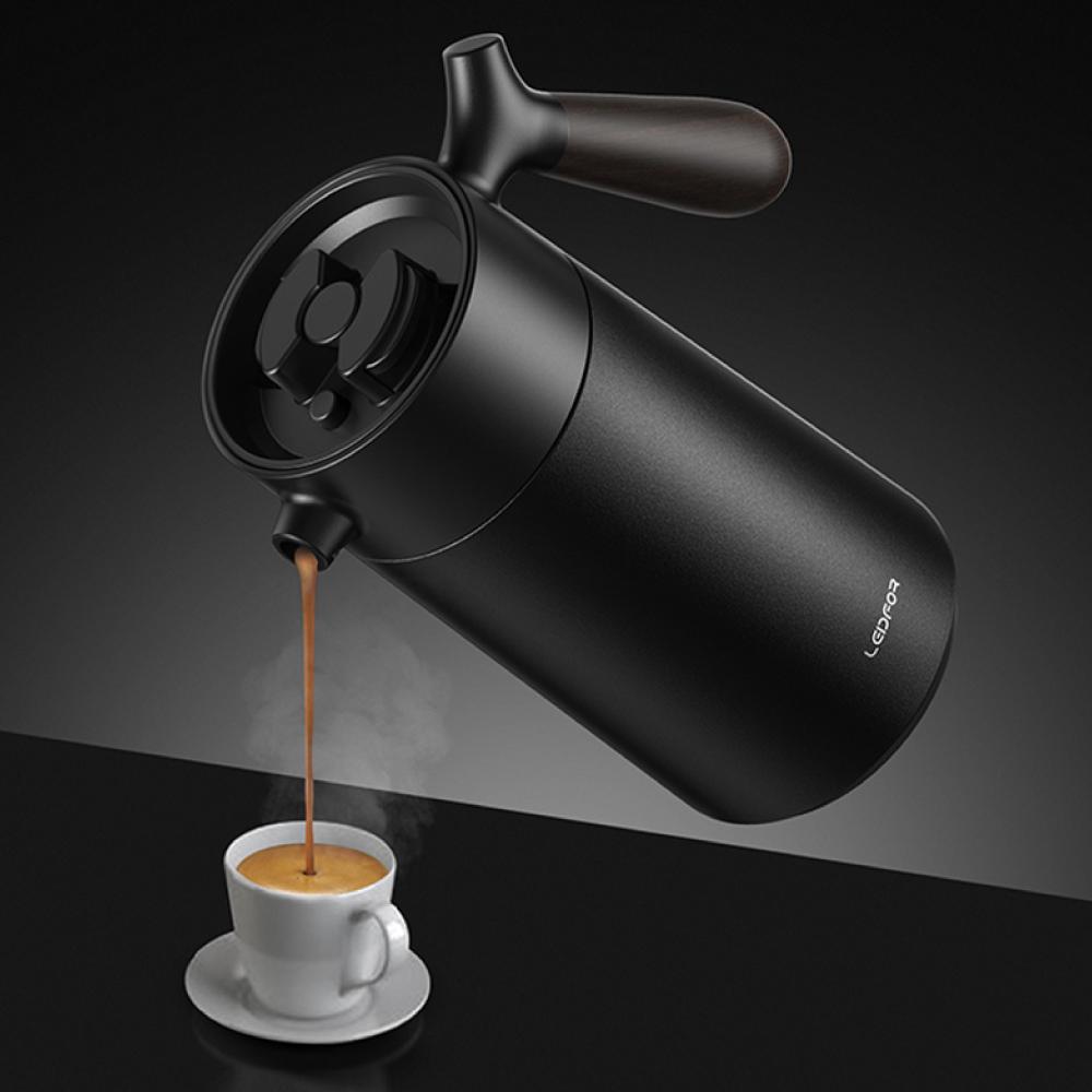 LEIDFOR 法壓真空保溫咖啡壺950ml(L1006)-黑
