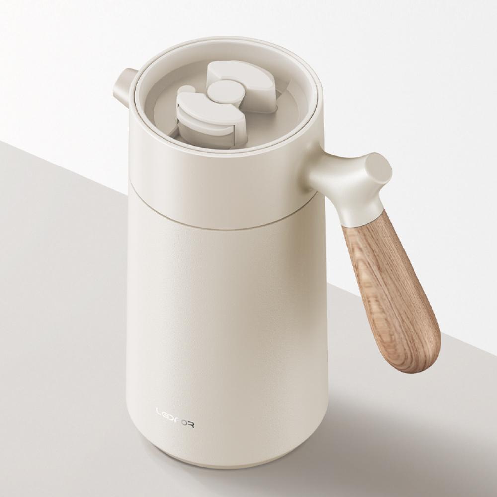 LEIDFOR 法壓真空保溫咖啡壺950ml(L1006)-白