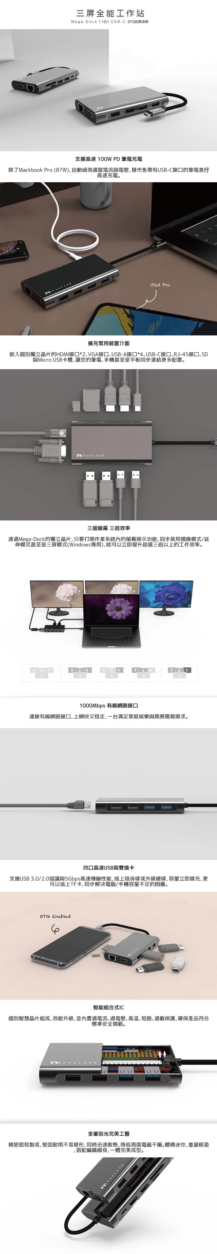 Feeltek  11 in 1 Mega-Dock USB-C 多功能集線器