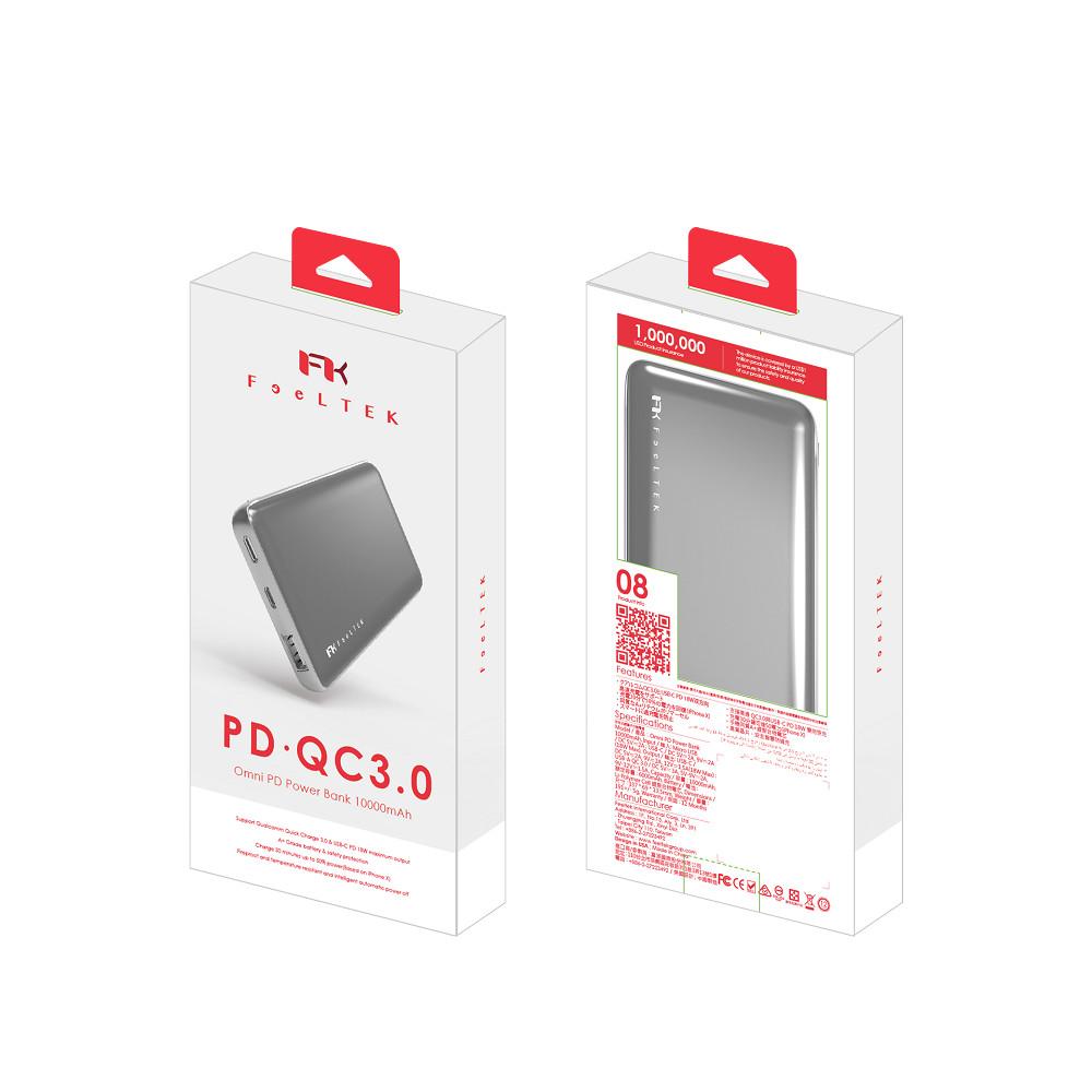 Feeltek|Omni PD快充 QC3.0 10000mAh行動電源 灰