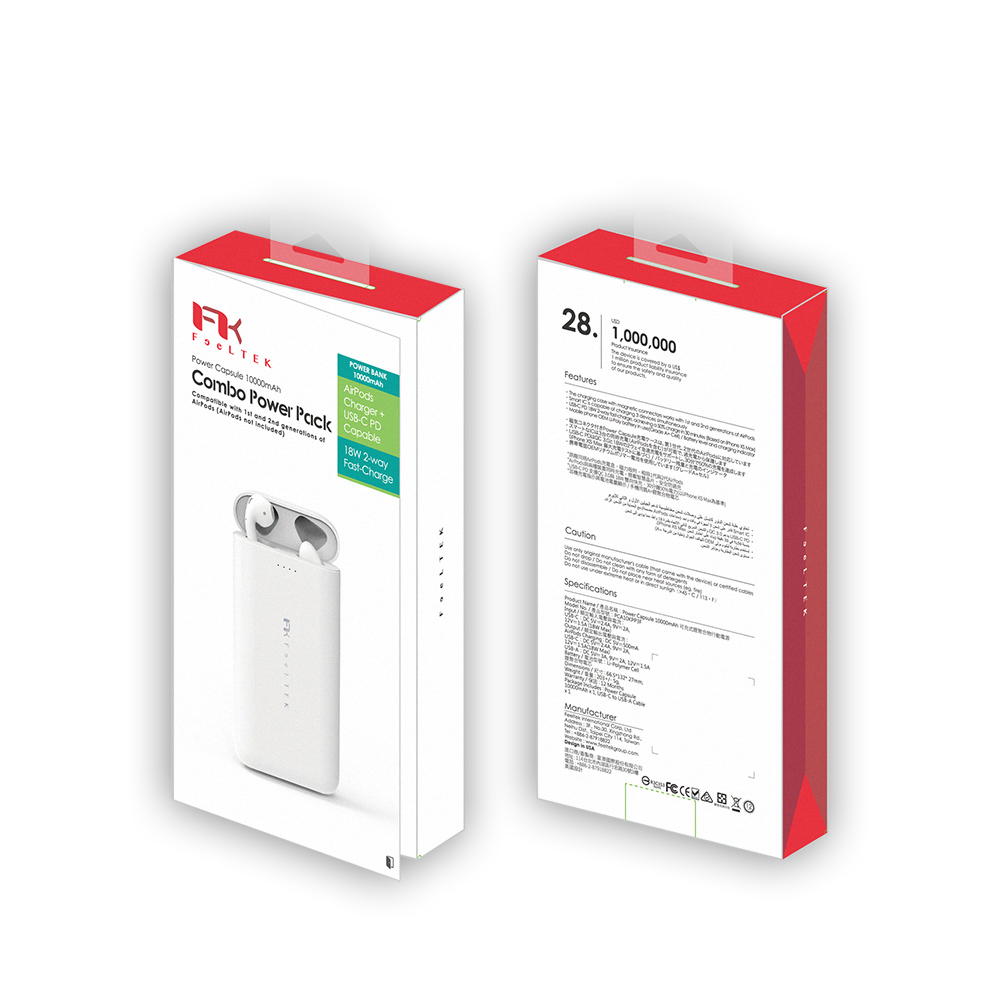 Feeltek Power Capsule 10000mAh PD快充 蘋果耳機充電艙 行動電源