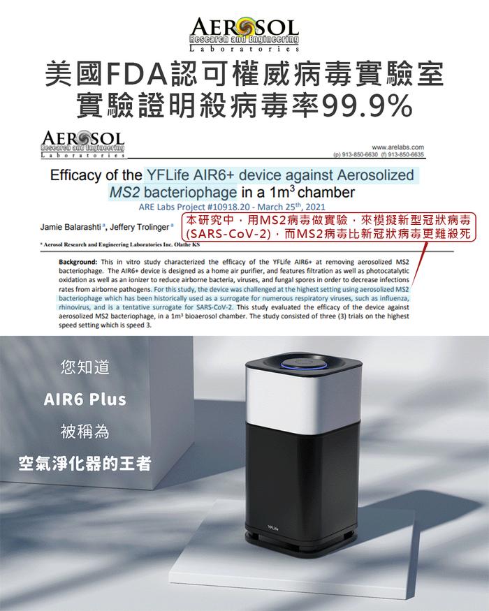 YFLife 圓方生活|AIR6 Plus 淨化王者 奈米光觸媒+負離子淨化器-極致黑、星鑽銀