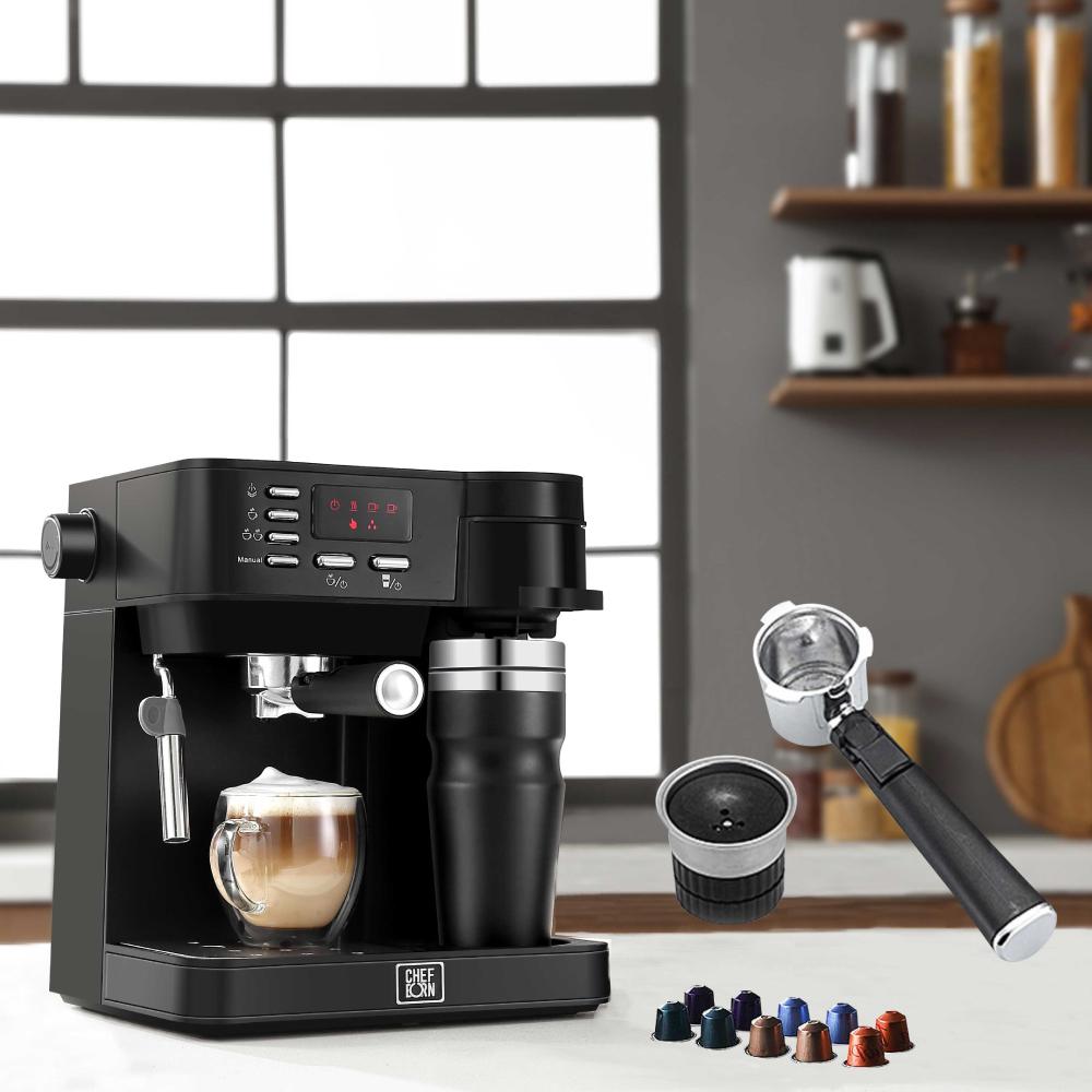 CHEFBORN|Esto 多功能半自動義式咖啡機(適用義式/美式/膠囊)+膠囊咖啡專用把手