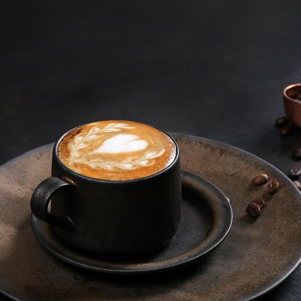 宜龍|黑鐵釉缽本咖啡杯碟(280ml)