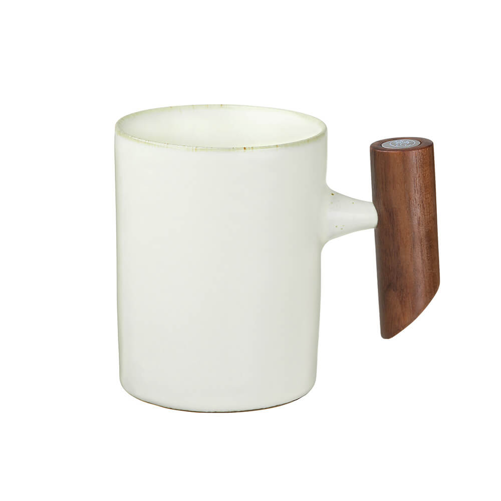 宜龍 汝黃釉直筒木把馬克杯(280ml)