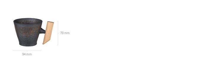 (複製)宜龍 黑鐵釉直筒木把馬克杯(315ml)