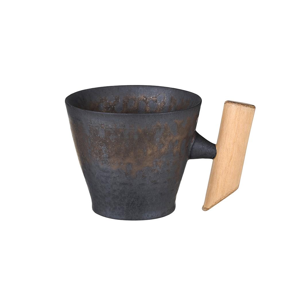 宜龍 黑鐵釉典雅木把馬克杯(275ml)