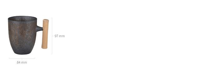 宜龍|黑鐵釉復古木把馬克杯(340ml)
