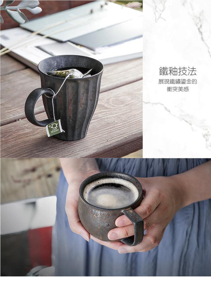 (複製)宜龍 黑鐵釉復古木把馬克杯(340ml)