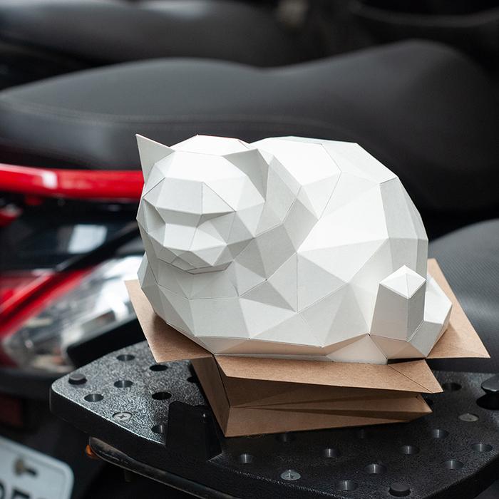 (複製)問創 Ask Creative|DIY手作3D紙模型擺飾 肥貓系列-大叔坐胖貓(4色可選)