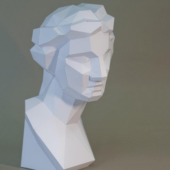 (複製)問創 Ask Creative|DIY手作3D紙模型擺飾 石膏像雕塑系列 - 魯修斯大角面 (3色可選)