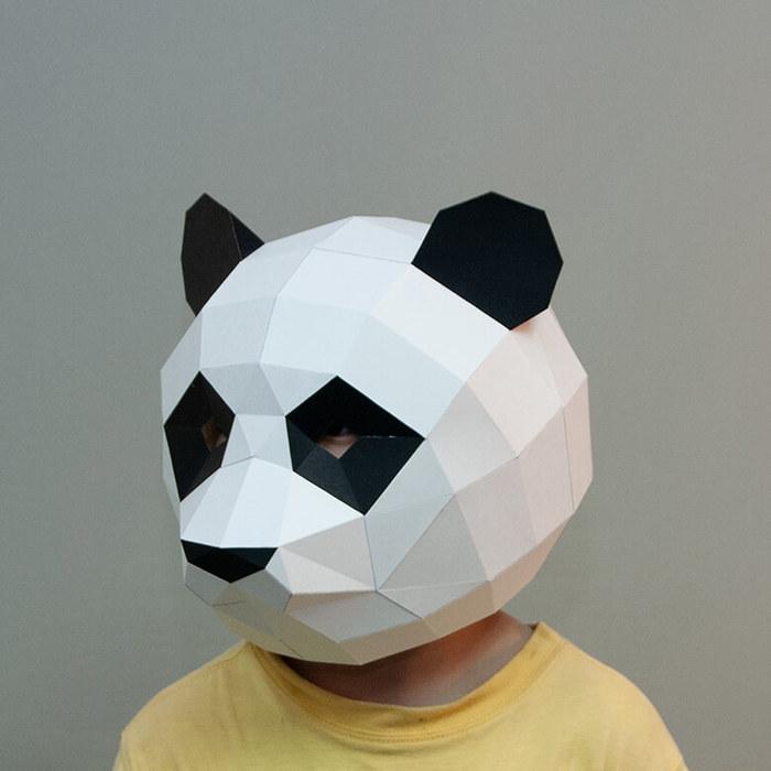 (複製)問創 Ask Creative|DIY手作3D紙模型擺飾 面具系列 - 熊貓/貓熊面具 (大人款)