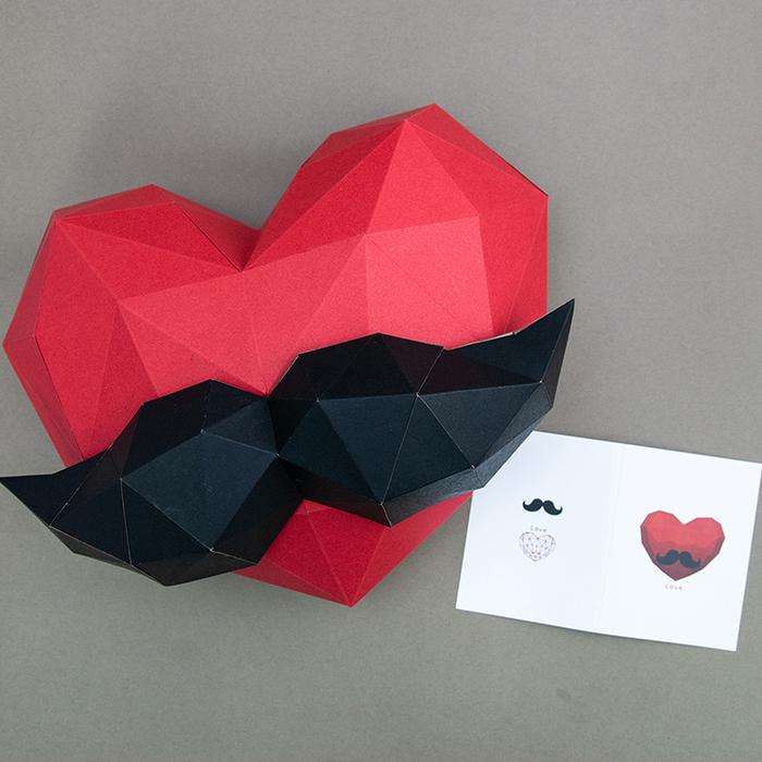 (複製)問創 Ask Creative DIY手作3D紙模型 禮物 掛飾 節慶系列 - 大愛心鬍子組合 (附小卡片)