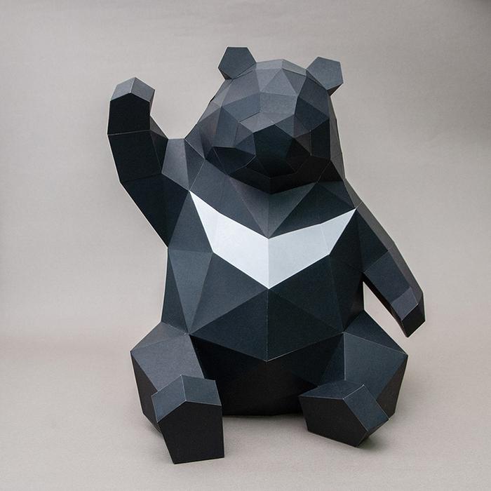 (複製)問創 Ask Creative DIY手作3D紙模型擺飾 小動物系列 - 肥壯壯台灣黑熊