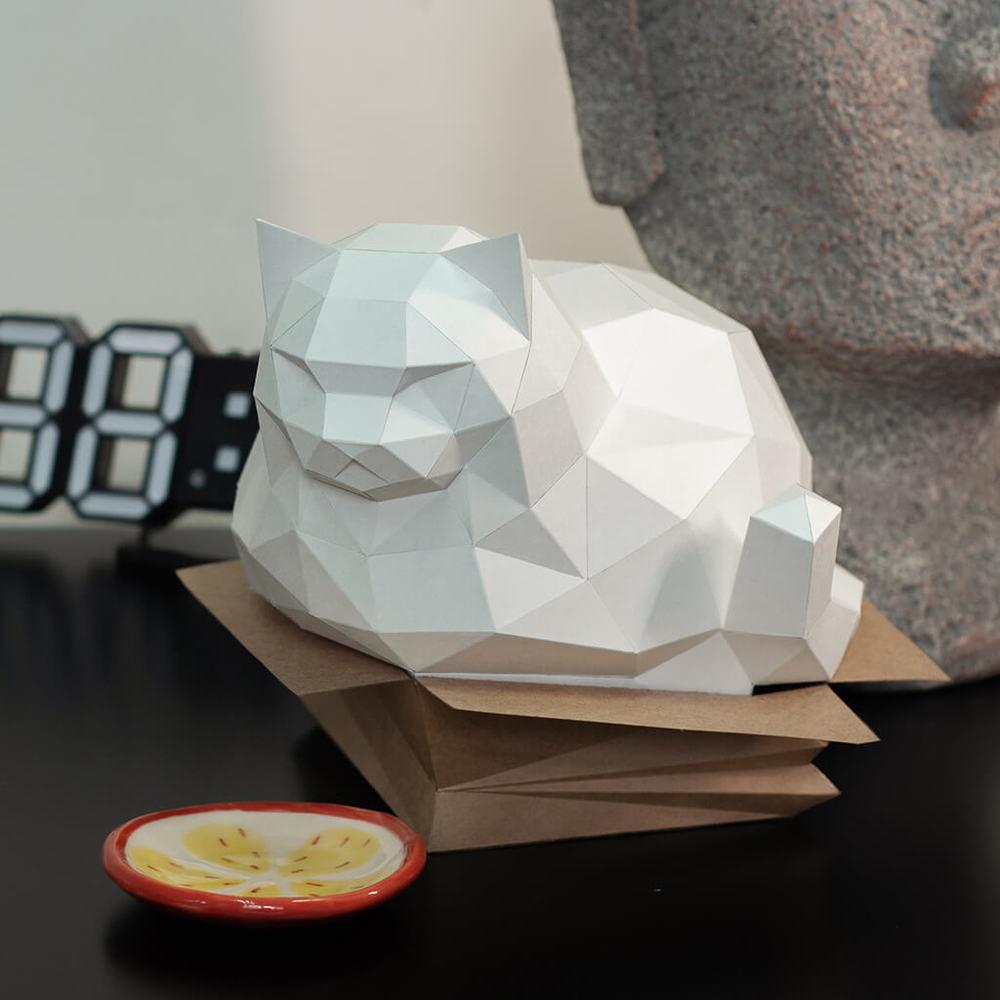 問創 Ask Creative|DIY手作3D紙模型擺飾 肥貓系列-紙箱胖貓  (3色可選)