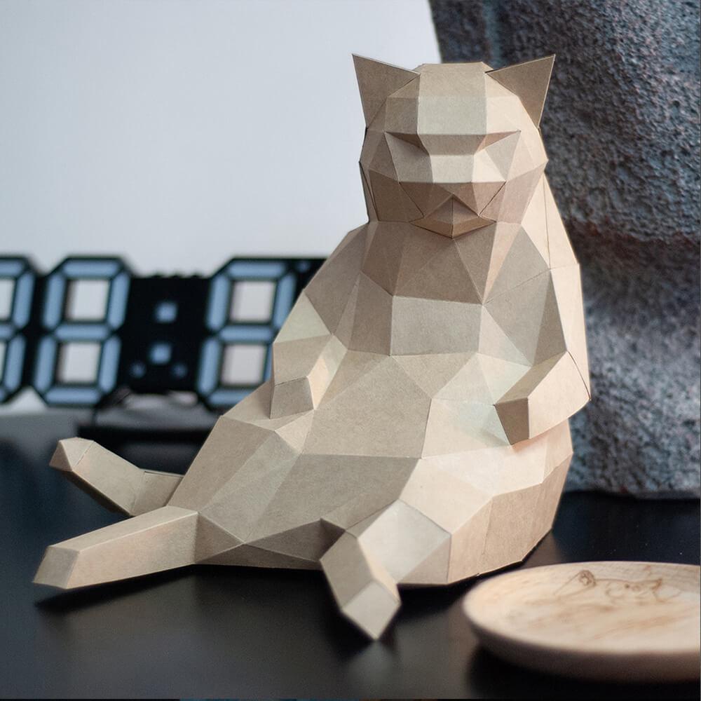 問創 Ask Creative|DIY手作3D紙模型擺飾 肥貓系列-大叔坐胖貓(4色可選)