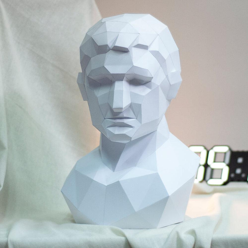 問創 Ask Creative|DIY手作3D紙模型擺飾 石膏像雕塑系列 - 阿格里帕角面 (3色可選)