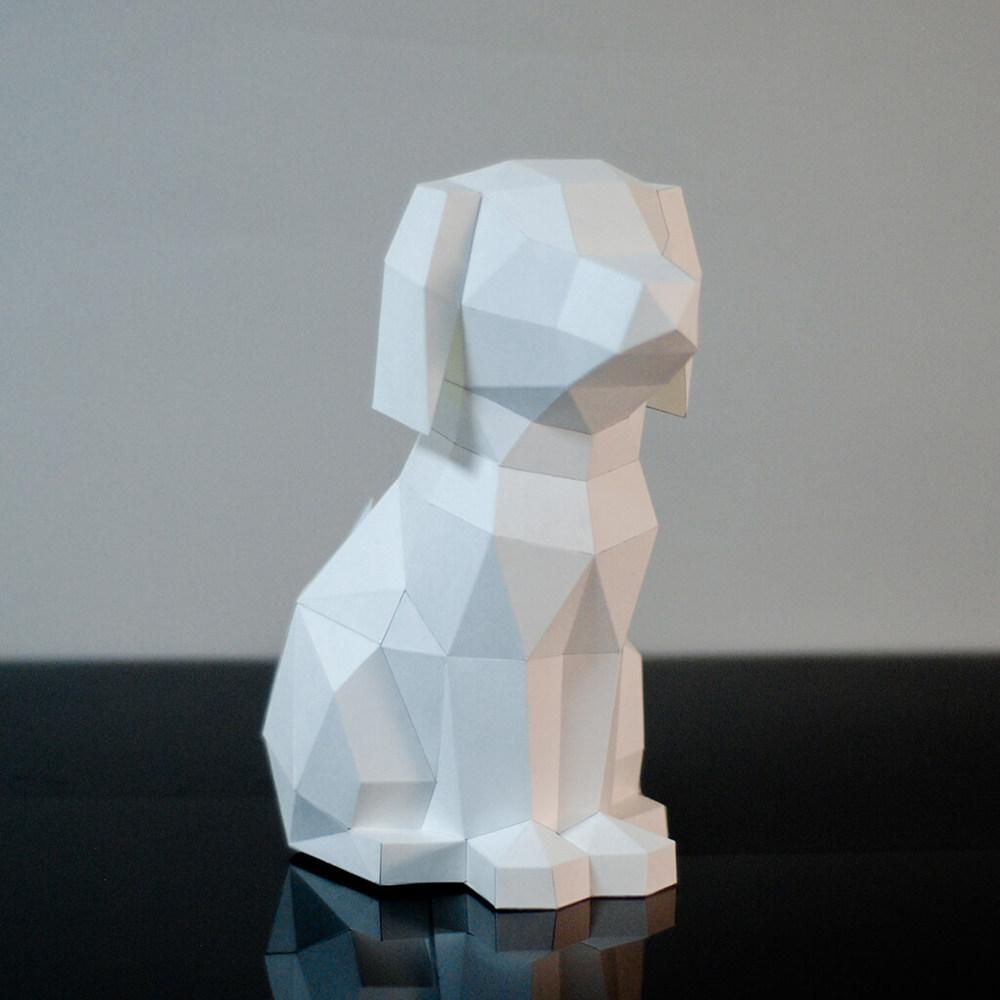 問創 Ask Creative|DIY手作3D紙模型擺飾 狗狗系列 - 坐挺挺的拉布拉多 (4色可選)