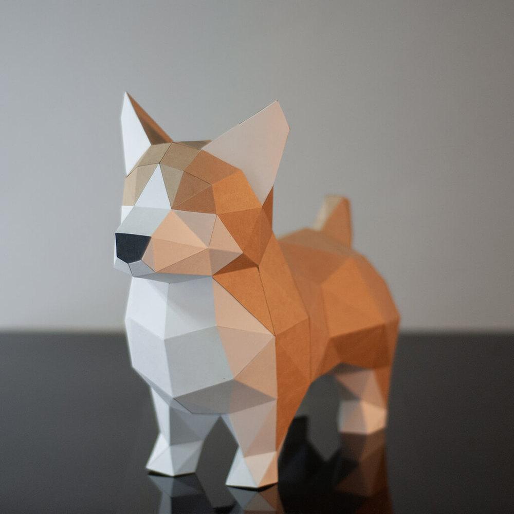 問創 Ask Creative|DIY手作3D紙模型擺飾 狗狗系列 - 短腿翹臀小柯基  (4色可選)