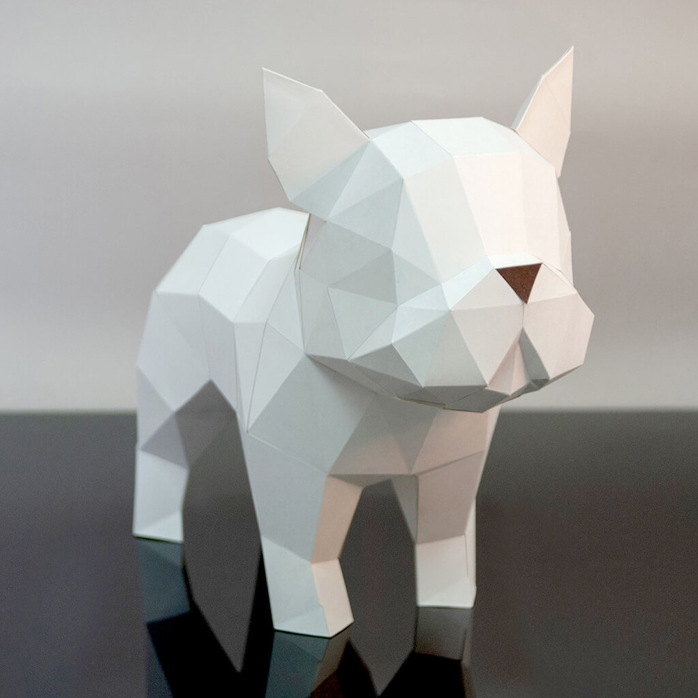 問創 Ask Creative|DIY手作3D紙模型擺飾 狗狗系列 - 法國來の鬥牛犬 (4色可選)