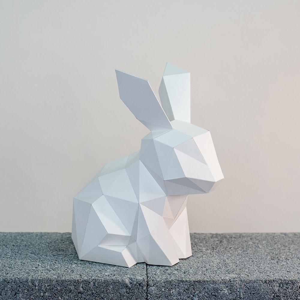 問創 Ask Creative|DIY手作3D紙模型擺飾 小動物系列 - 小兔子 (4色可選)