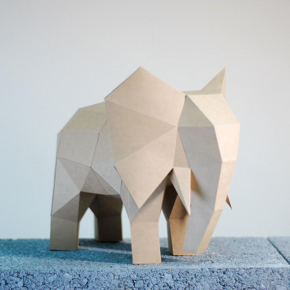 問創 Ask Creative|DIY手作3D紙模型擺飾 小動物系列 - 大象 (4色可選)