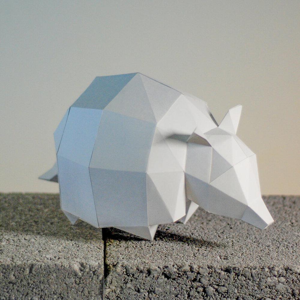問創 Ask Creative|DIY手作3D紙模型擺飾 小動物系列 - 犰狳 (4色可選)