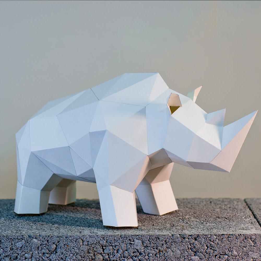 問創 Ask Creative|DIY手作3D紙模型擺飾 小動物系列 - 犀牛 (4色可選)