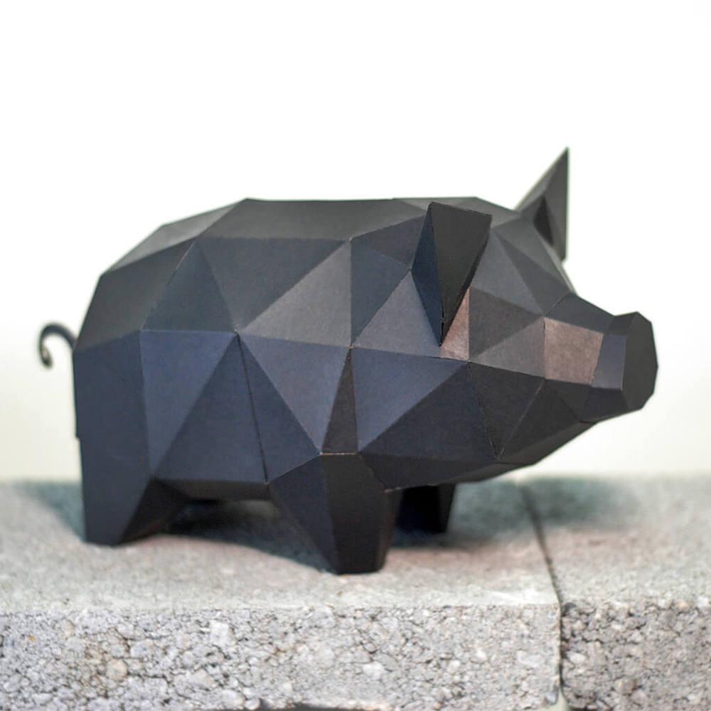問創 Ask Creative|DIY手作3D紙模型擺飾 小動物系列 - 小豬 (4色可選)